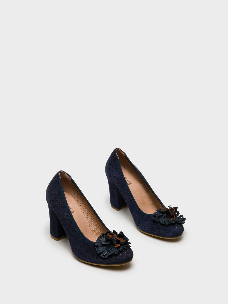 Blue Round Toe Pumps