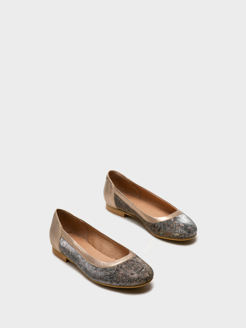 Gold Round Toe Ballerinas
