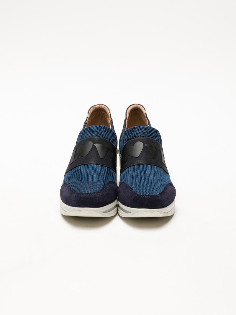 Navy Wedge Trainers