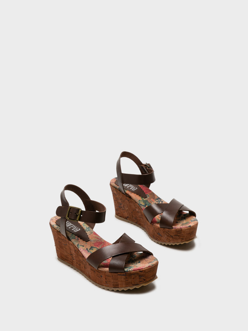 Maroon Wedge Sandals