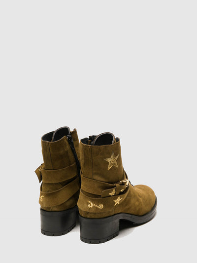 Foreva Olive Buckle Ankle Boots