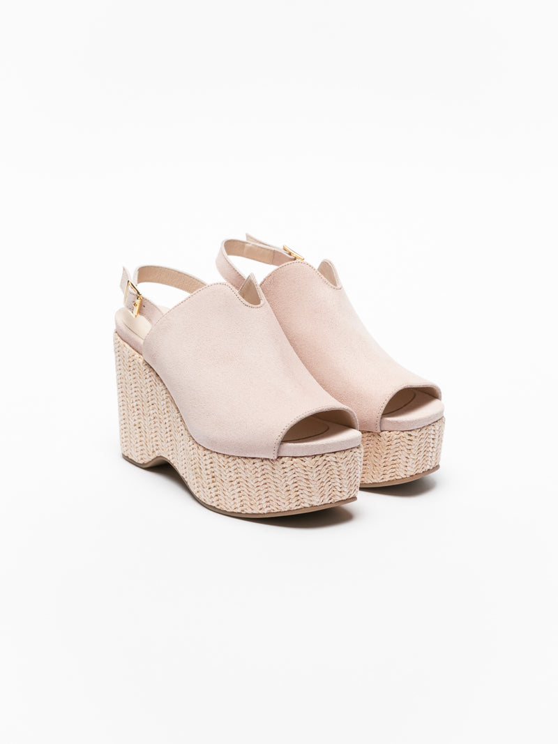 Pink Wedge Mules