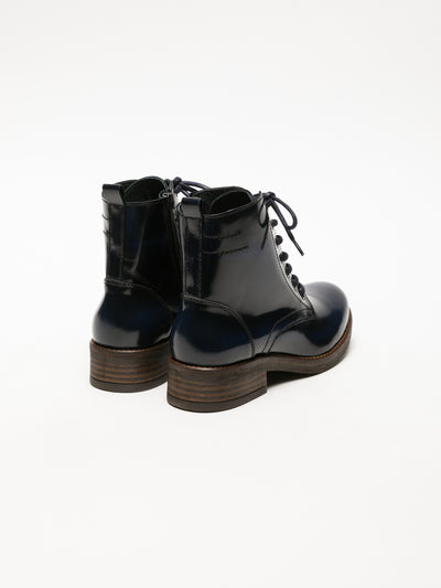 Foreva Blue Lace-up Ankle Boots