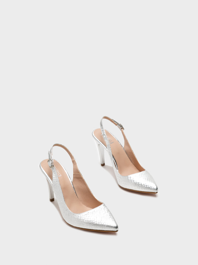 Silver Sling-Back Pumps Shoes
