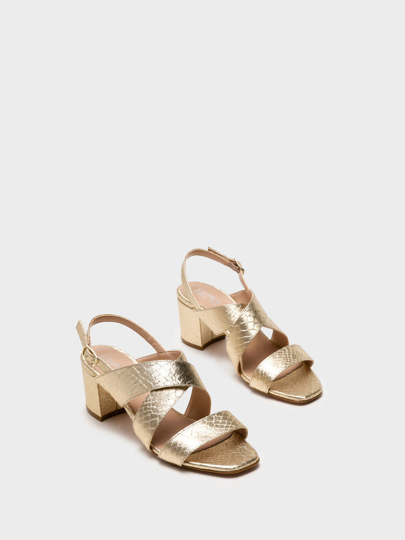 Gold Crossover Sandals