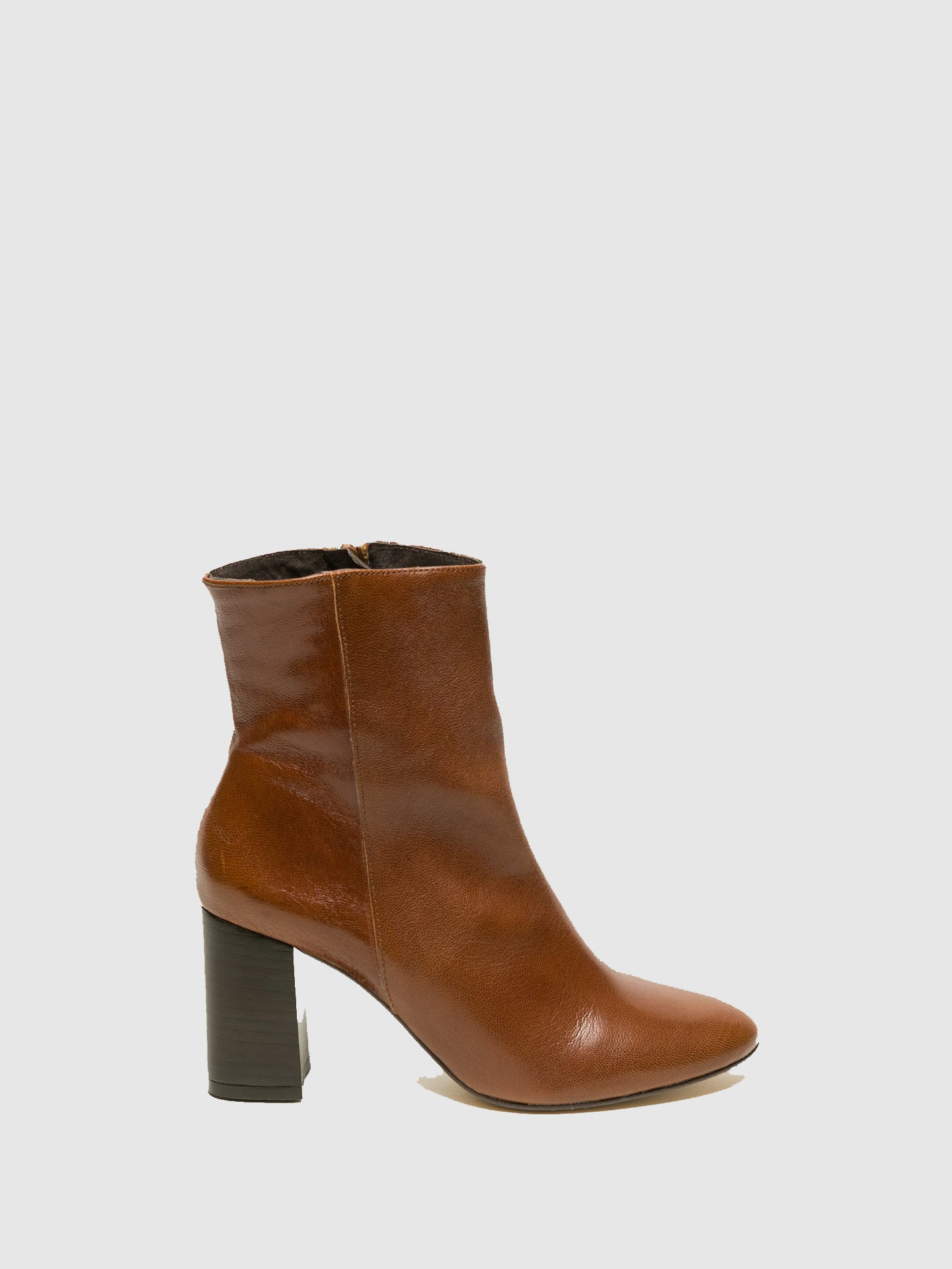 Foreva Brown Zip Up Ankle Boots