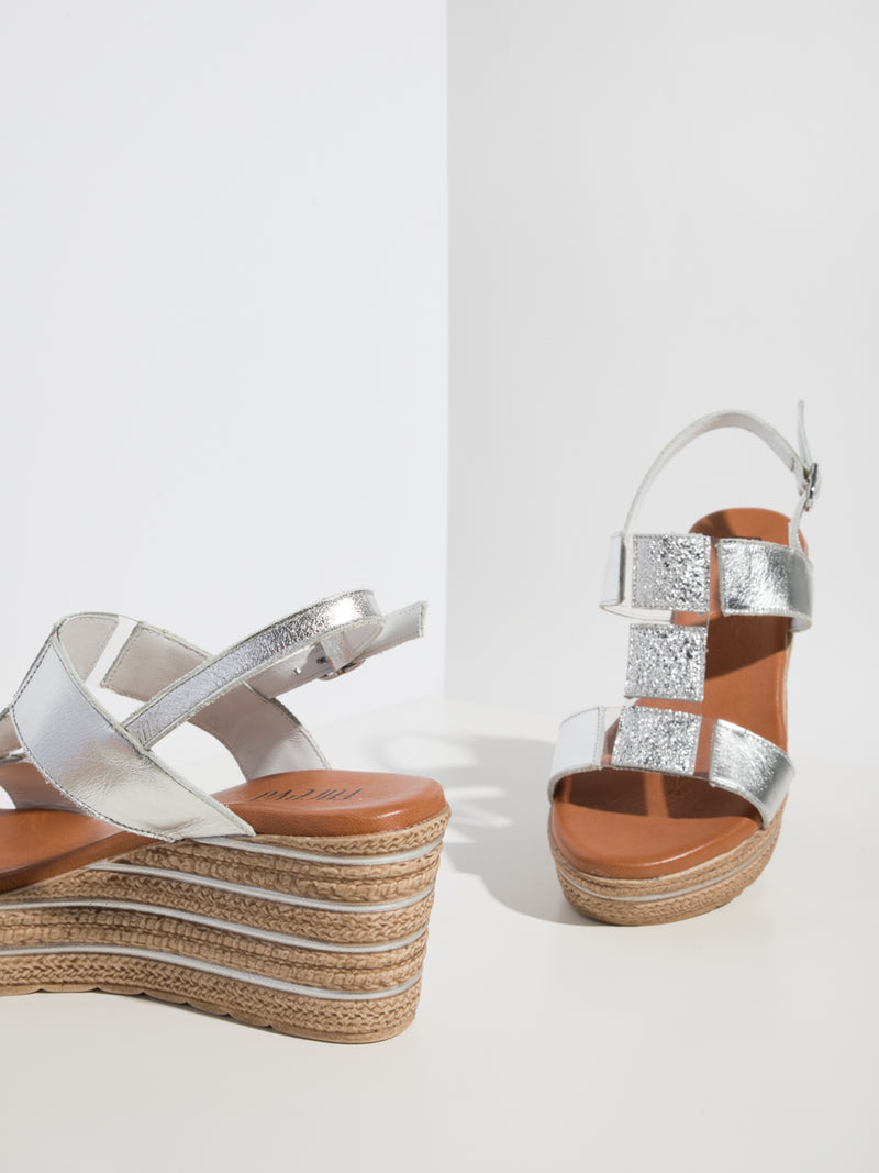 Silver T-Strap Sandals