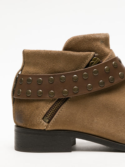 Foreva Tan Studded Ankle Boots