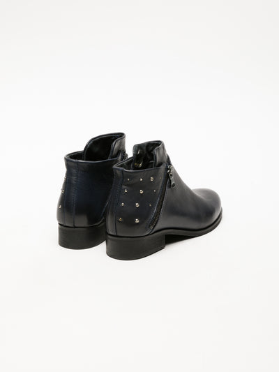 Foreva Blue Zip Up Ankle Boots