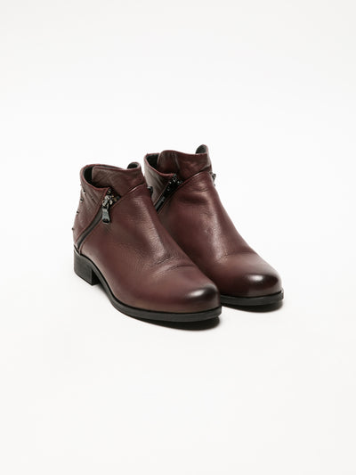 Foreva DarkRed Zip Up Ankle Boots