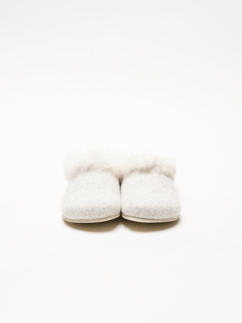 Beige Fur Slides