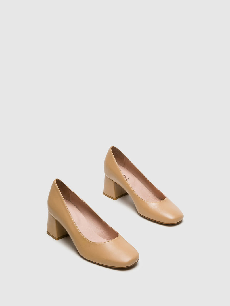 Beige Square Toe Pumps Shoes
