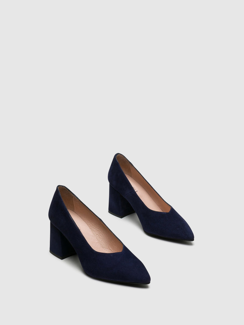 Blue Square Toe Pumps Shoes