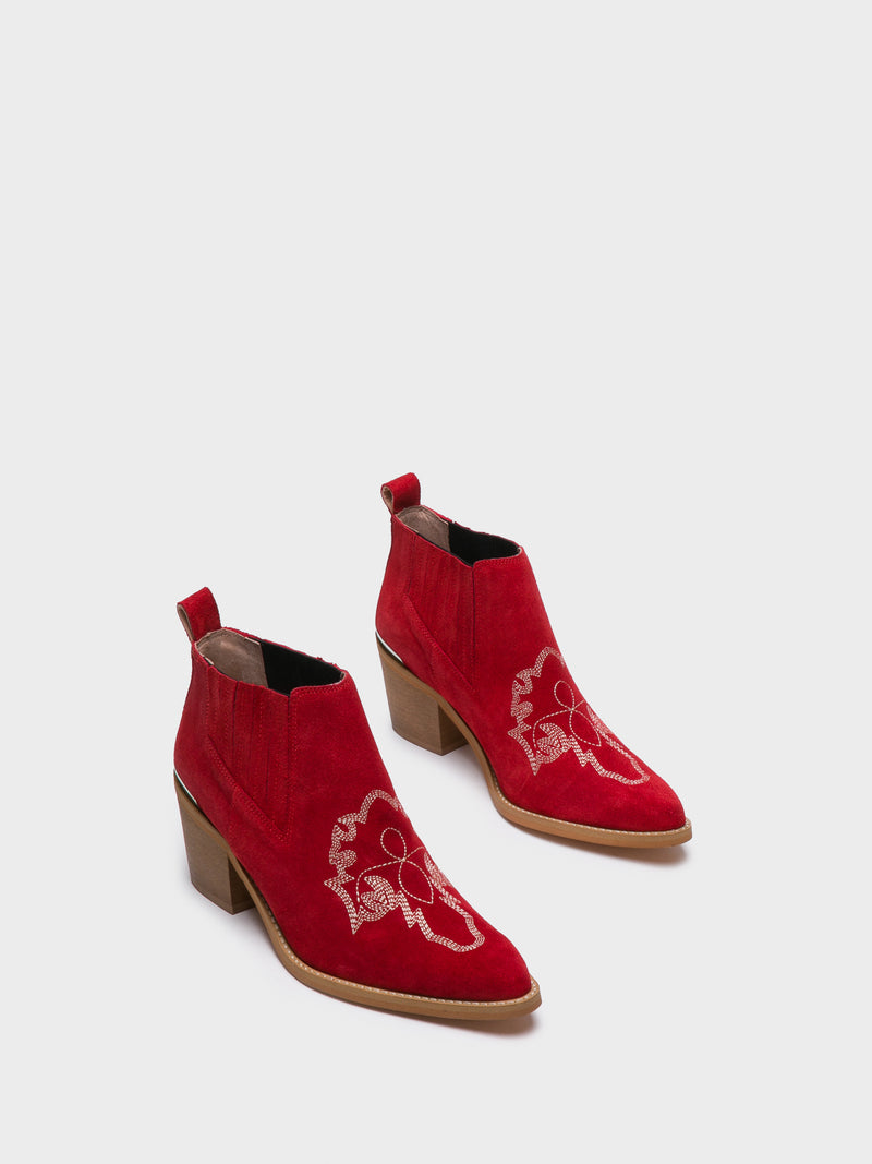 Red Cowboy Ankle Boots