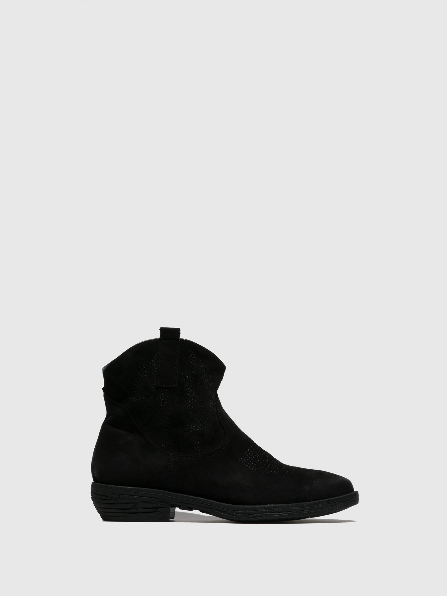 Francesco Milano Black Round Toe Ankle Boots