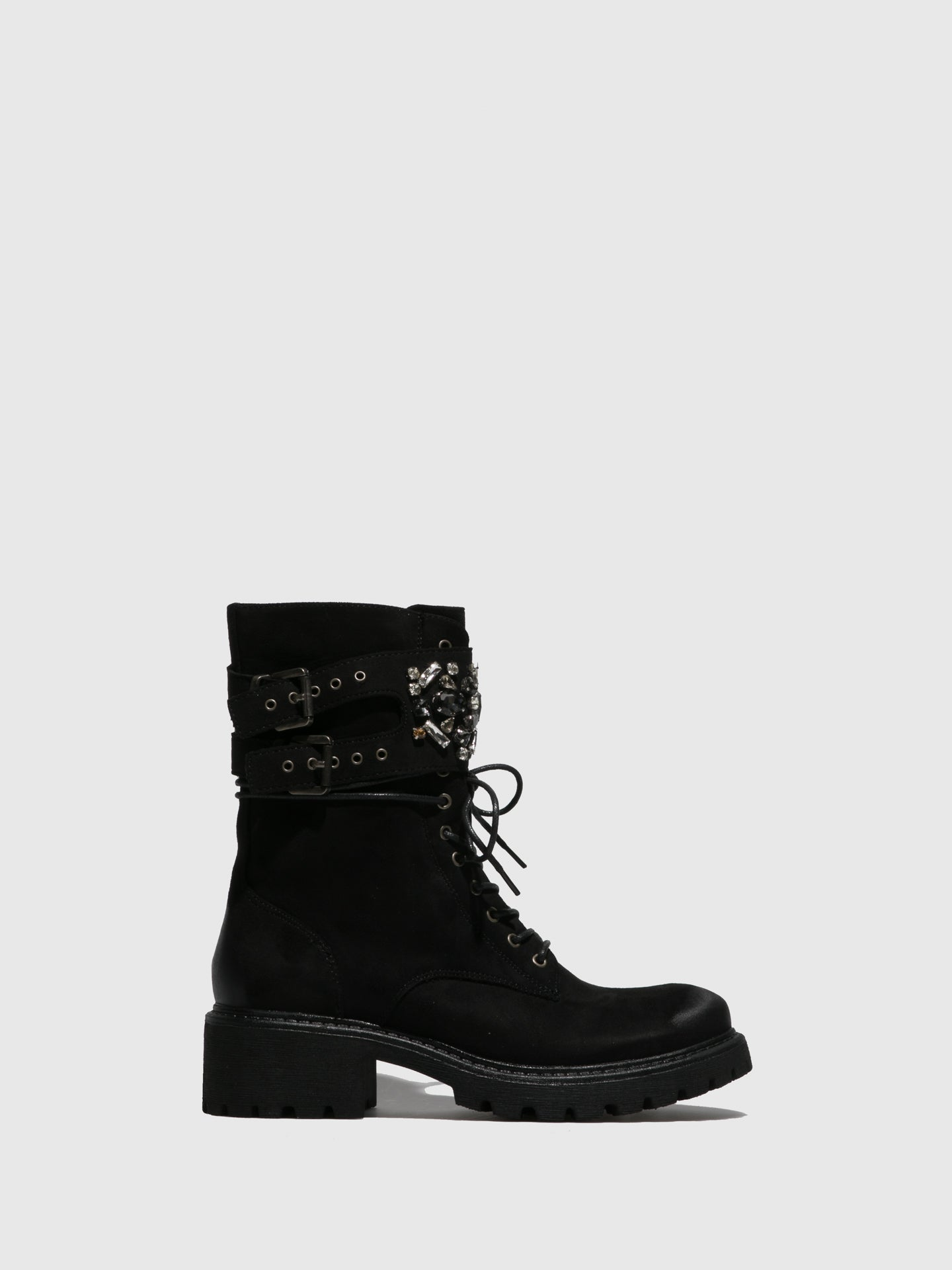 Francesco Milano Black Buckle Boots