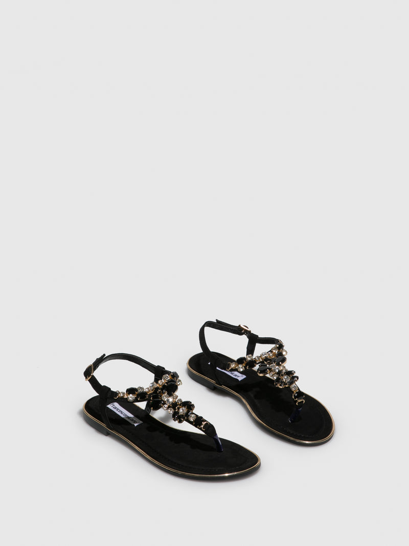 FRANCESCO MILANO Black Appliqués Sandals