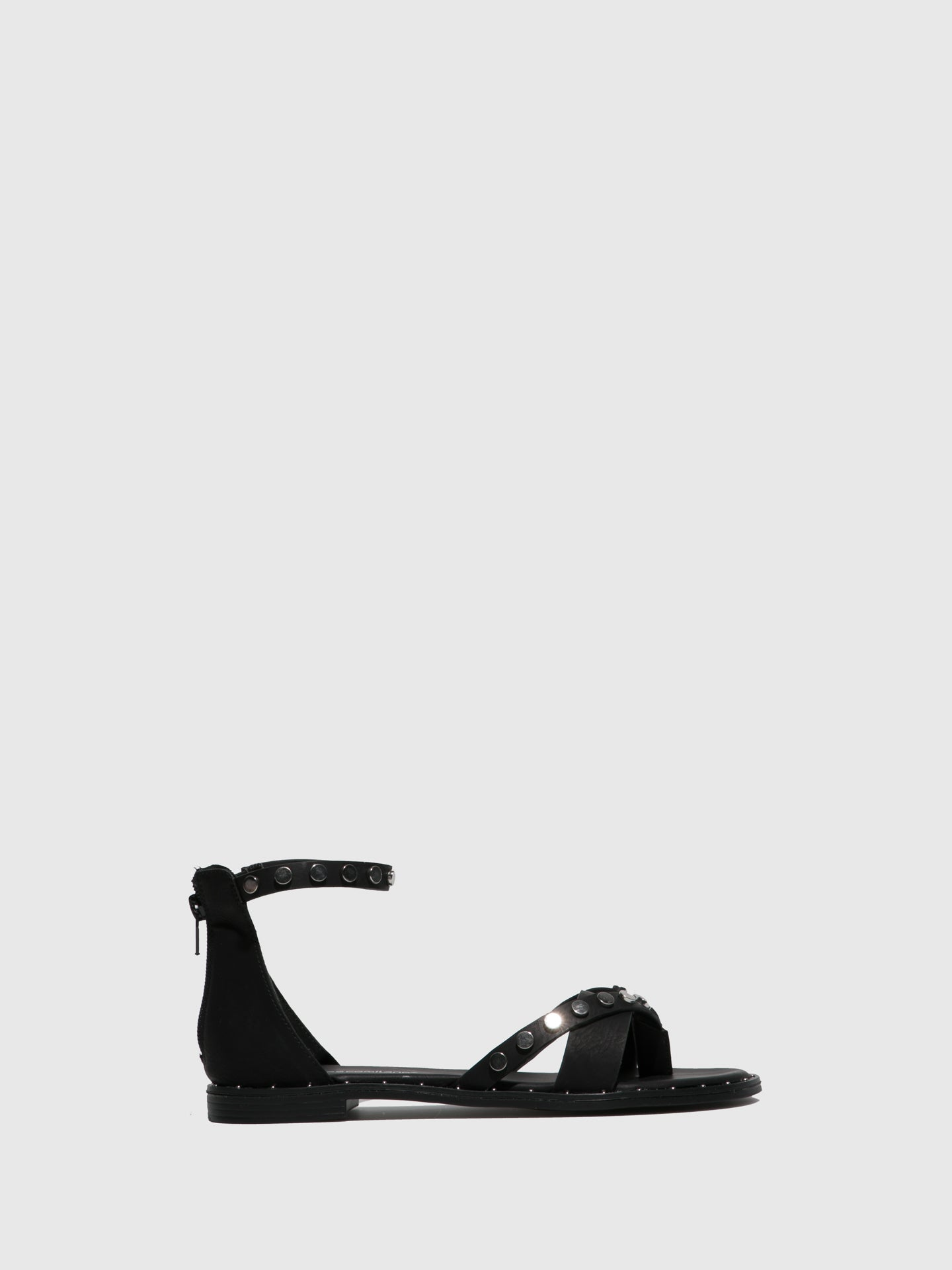 FRANCESCO MILANO Black Ankle Strap Sandals
