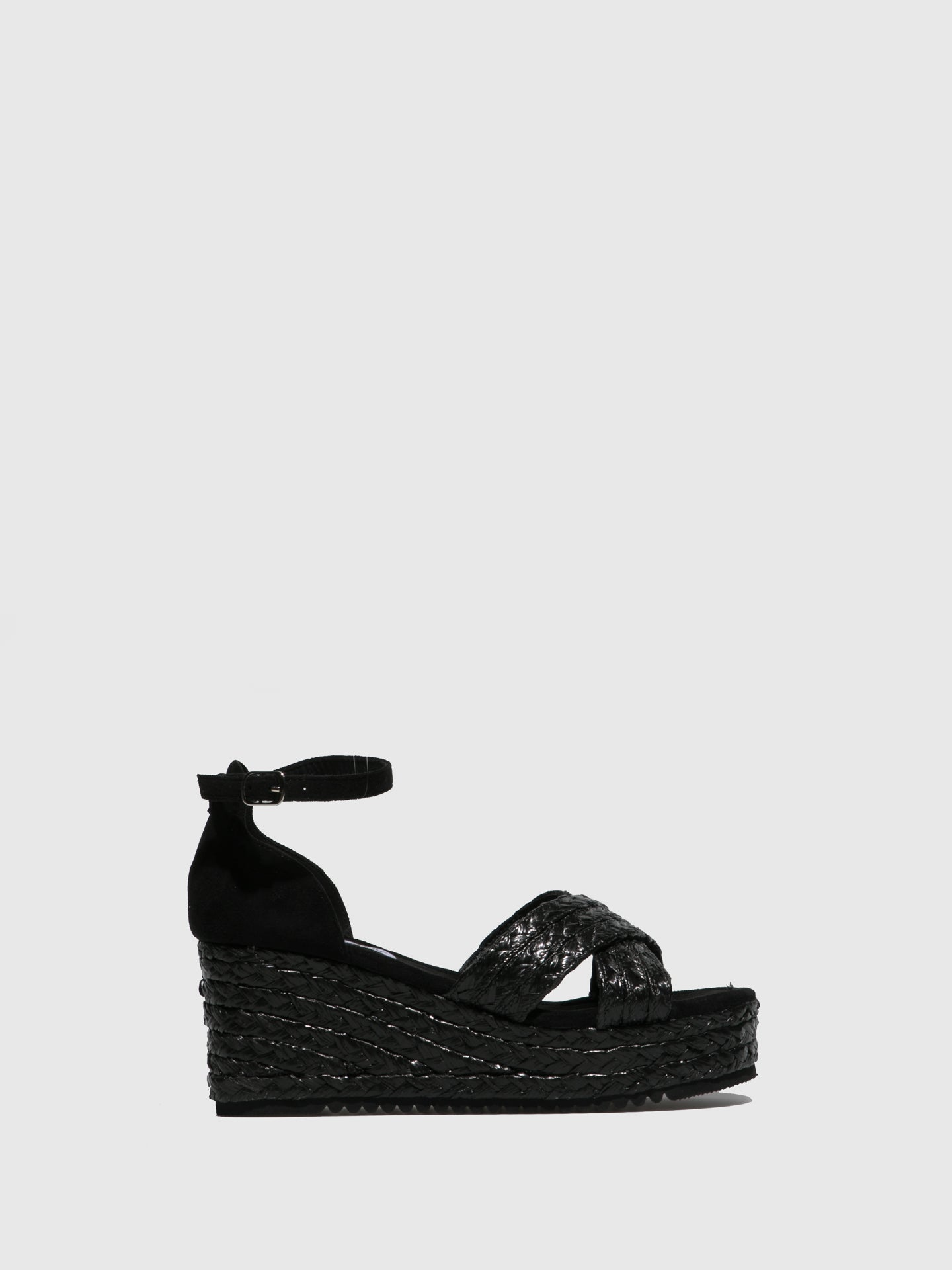 FRANCESCO MILANO Black Wedge Sandals