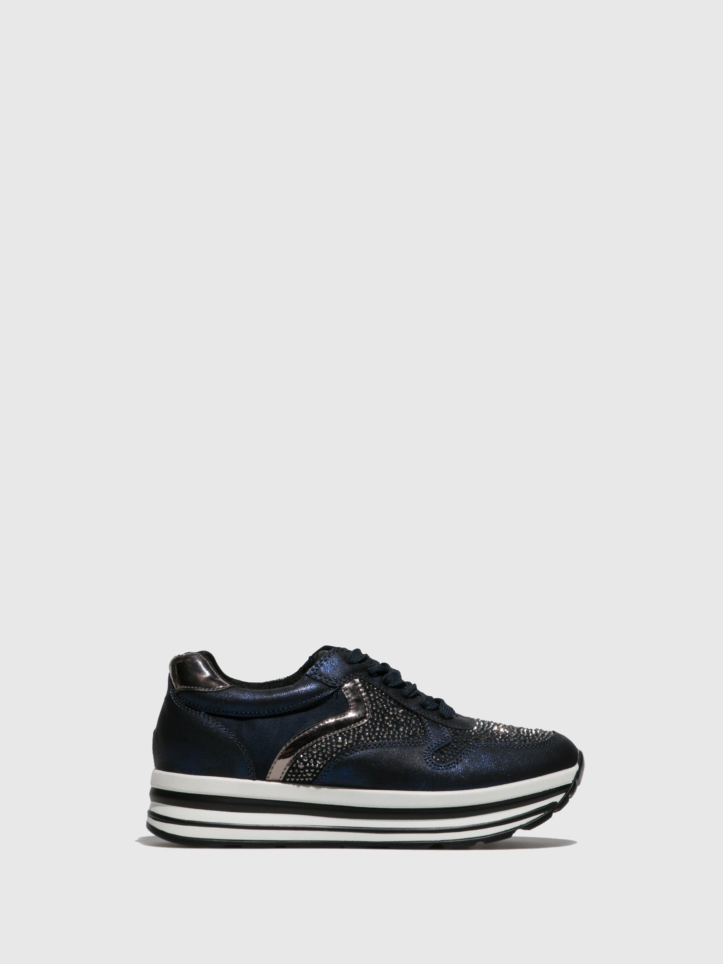 FRANCESCO MILANO Navy Lace-up Trainers