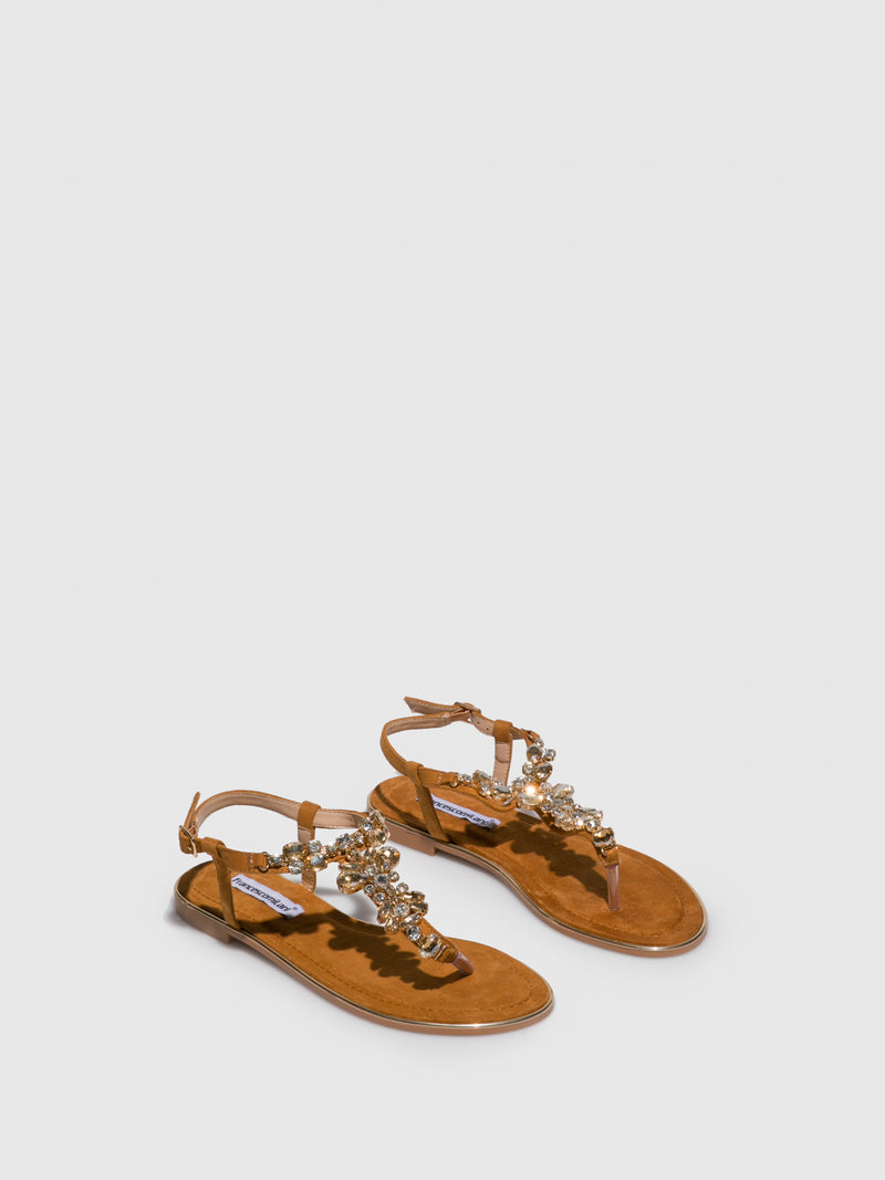 FRANCESCO MILANO Brown Appliqués Sandals