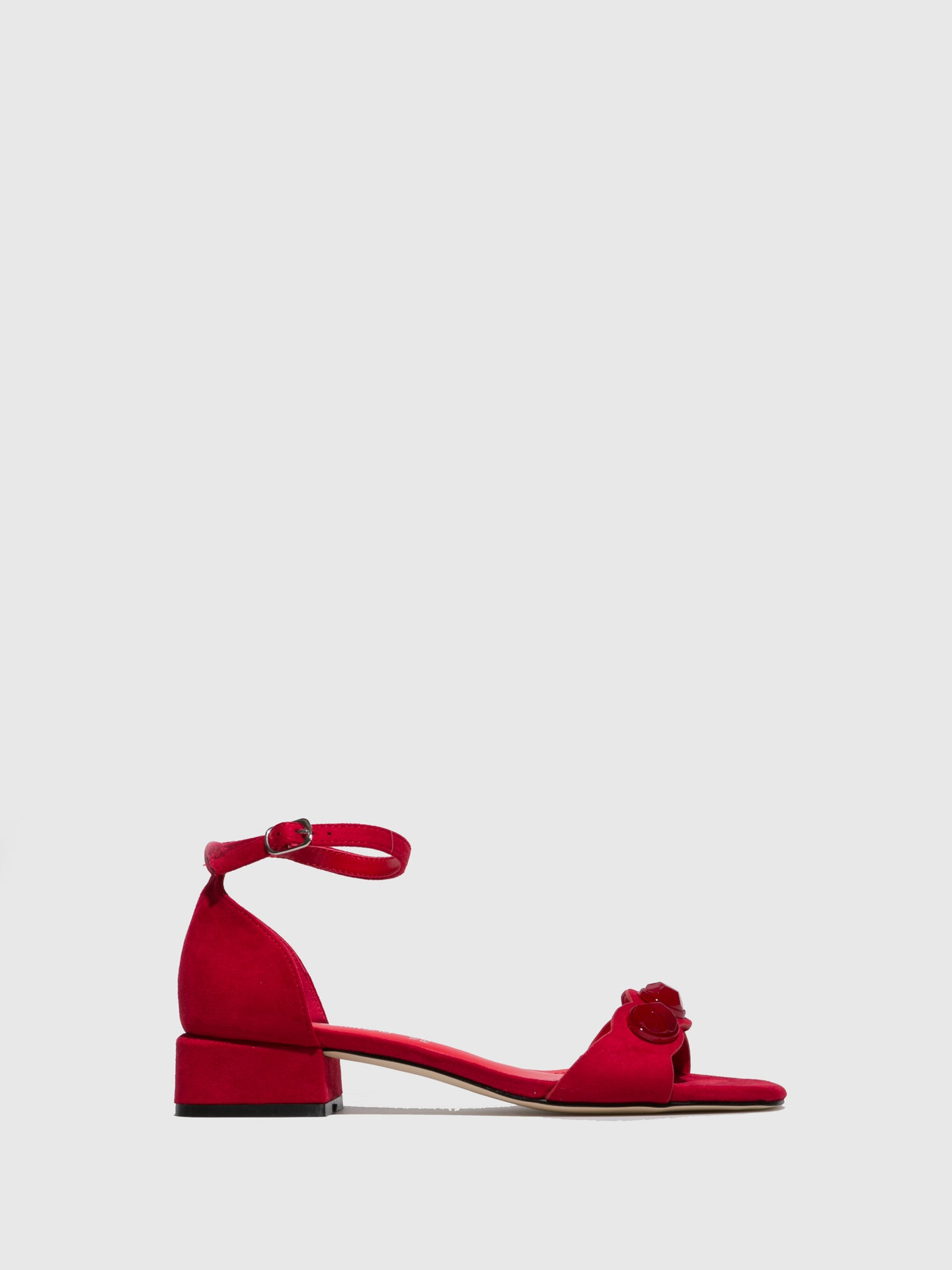 FRANCESCO MILANO Red Ankle Strap Sandals
