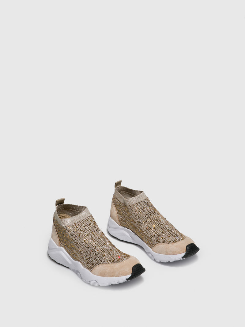 FRANCESCO MILANO Gold Elasticated Trainers