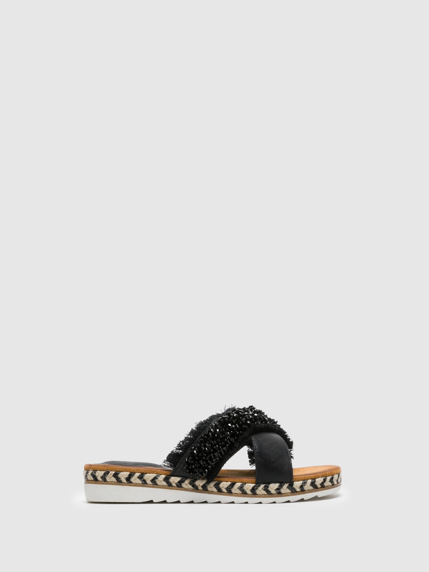 FRANCESCO MILANO Black Appliqués Flip-Flops