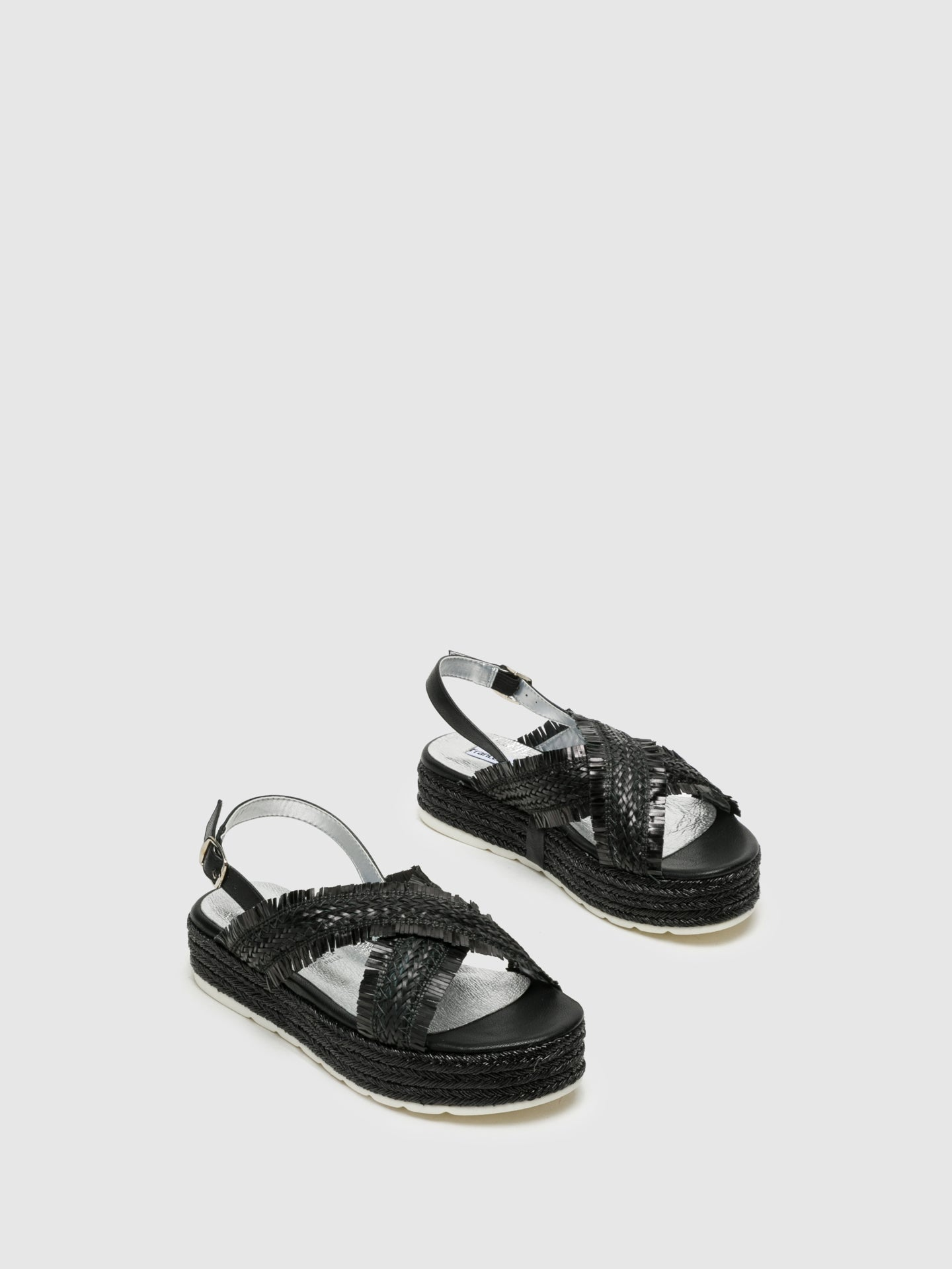 Francesco Milano Black Buckle Sandals