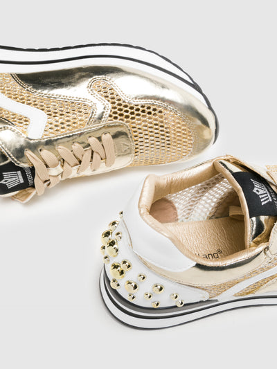 FRANCESCO MILANO Gold Lace-up Trainers
