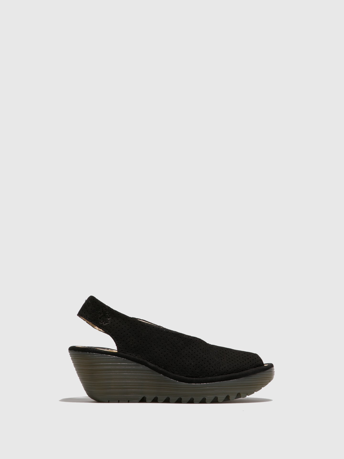 Fly London Carbon Black Sling-Back Sandals