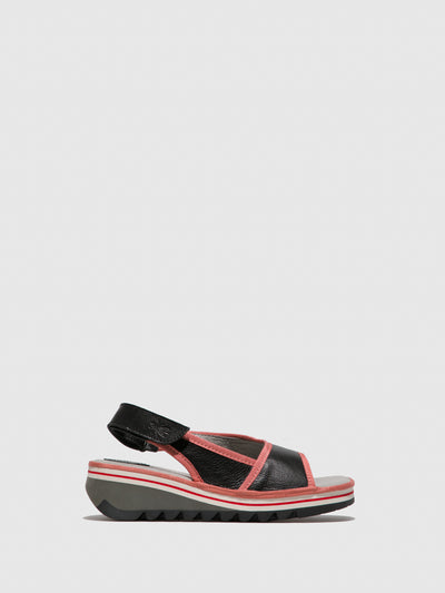 Fly London Black Sling-Back Sandals