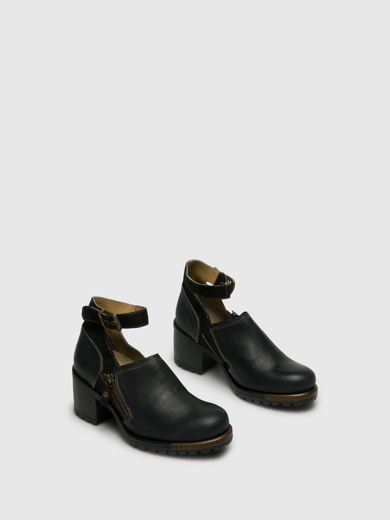 Matte Black Ankle Strap Shoes