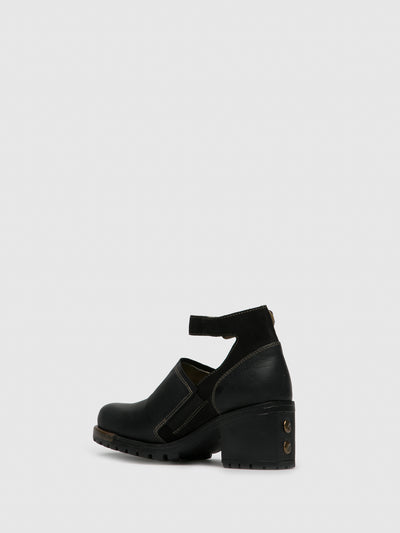 Fly London Matte Black Ankle Strap Shoes
