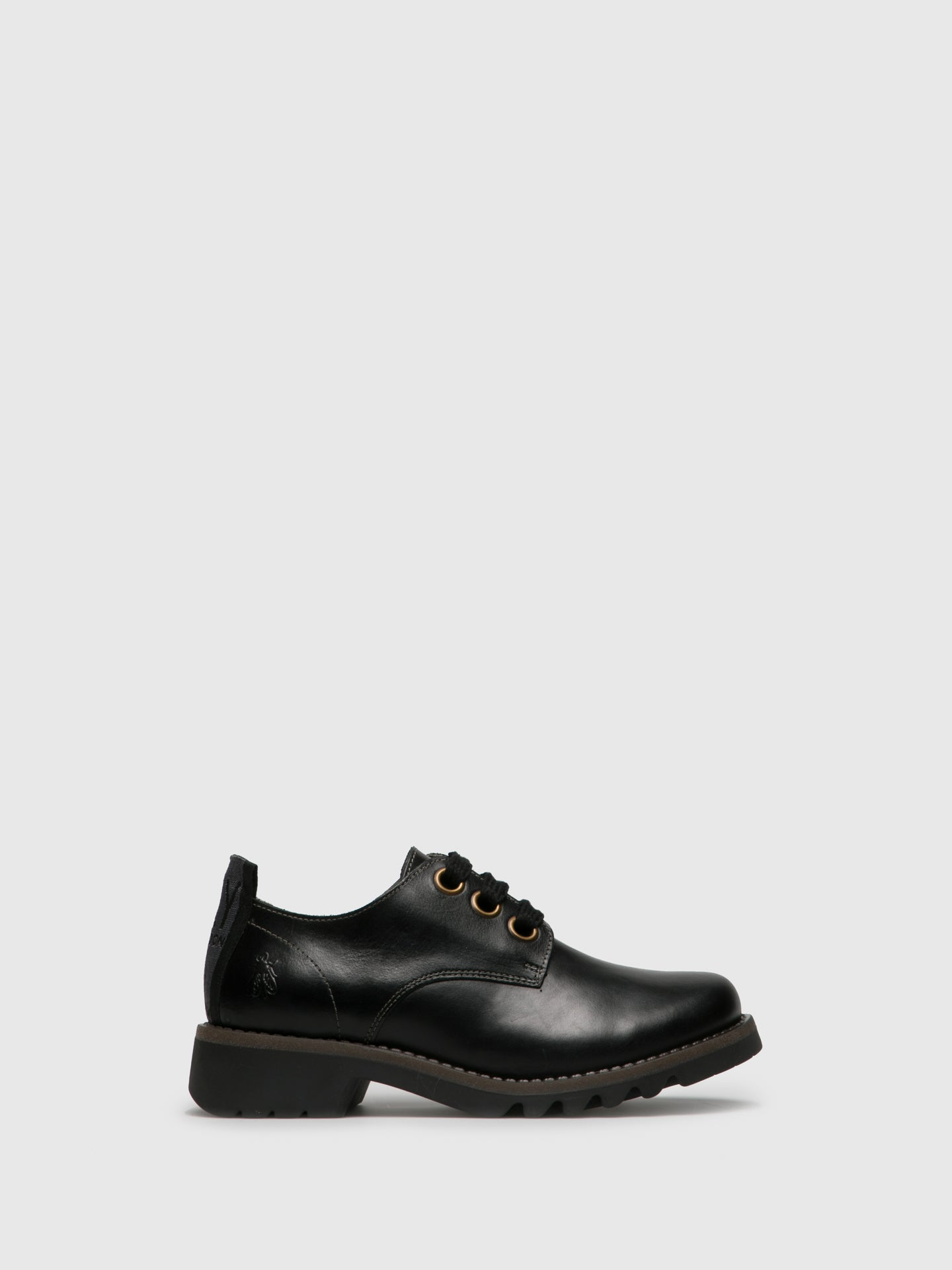 Fly London Matte Black Lace-up Shoes