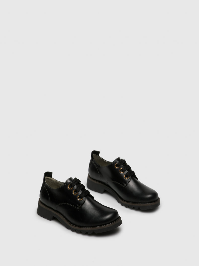 Matte Black Lace-up Shoes