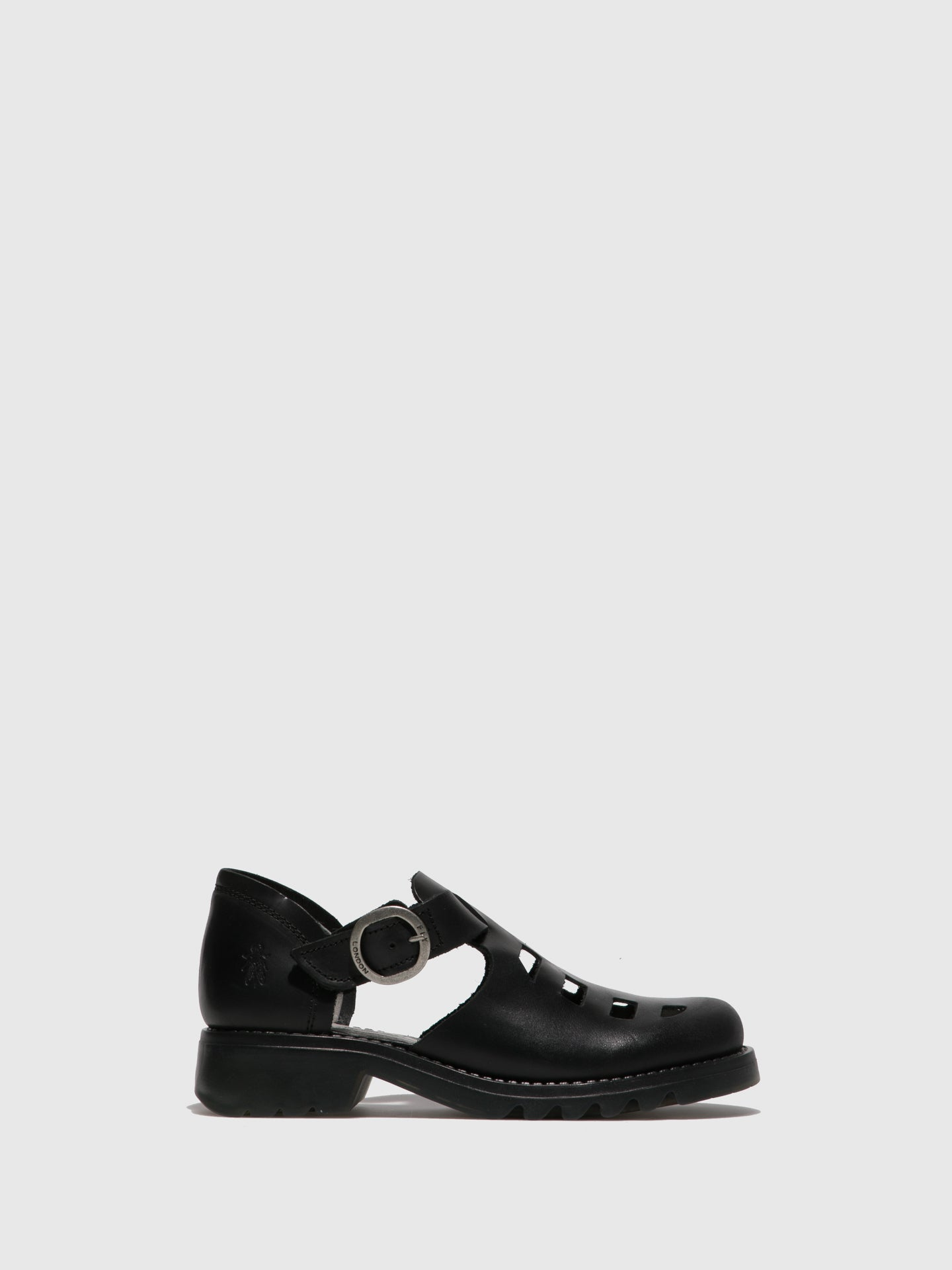 Fly London Black Buckle Shoes