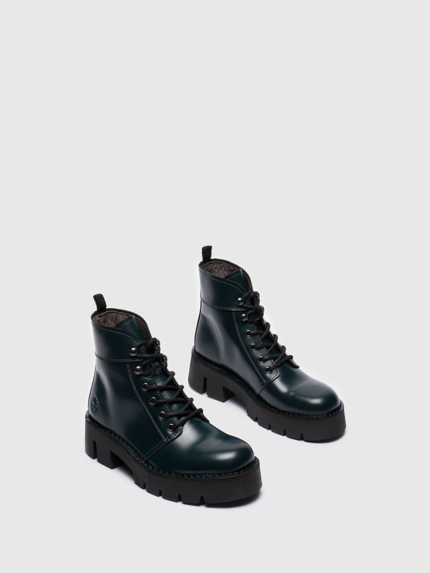 Blue Lace-up Ankle Boots - Overcube