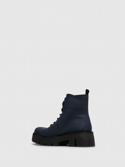 Fly London Navy Lace-up Ankle Boots