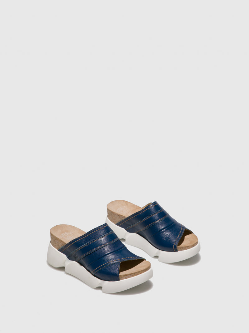 Blue Open Toe Mules