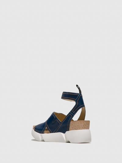 Fly London Blue Ankle Strap Sandals