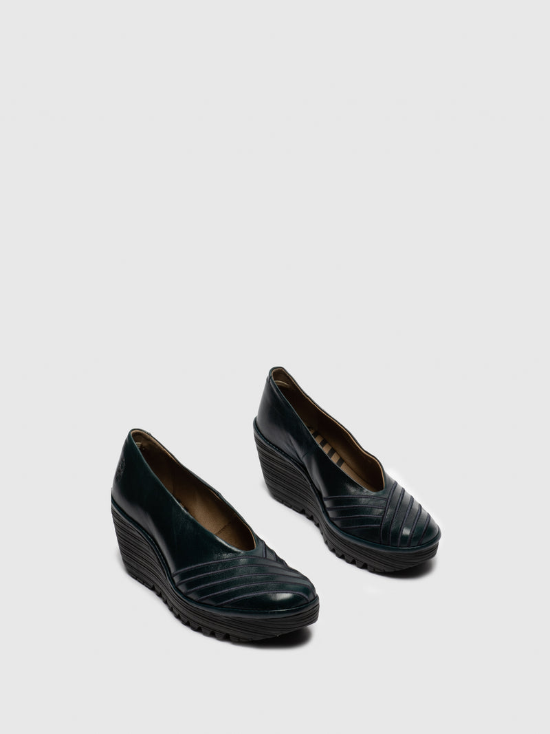 DarkCyan Round Toe Pumps