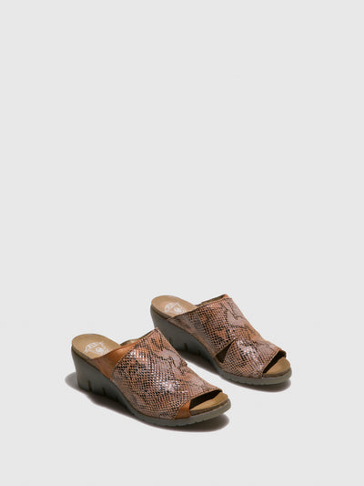Fly London Tan Open Toe Mules