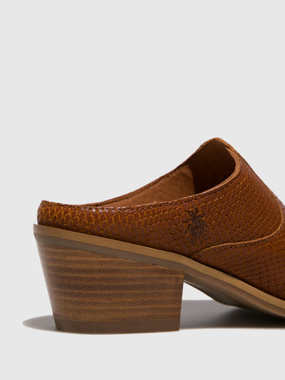 Fly London Tan Closed Mules