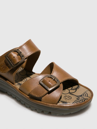 Fly London Camel Open Toe Mules