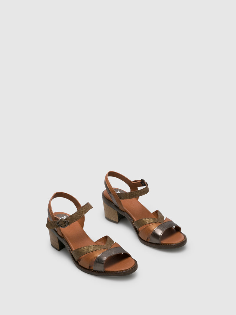 Fly London Brown Buckle Sandals