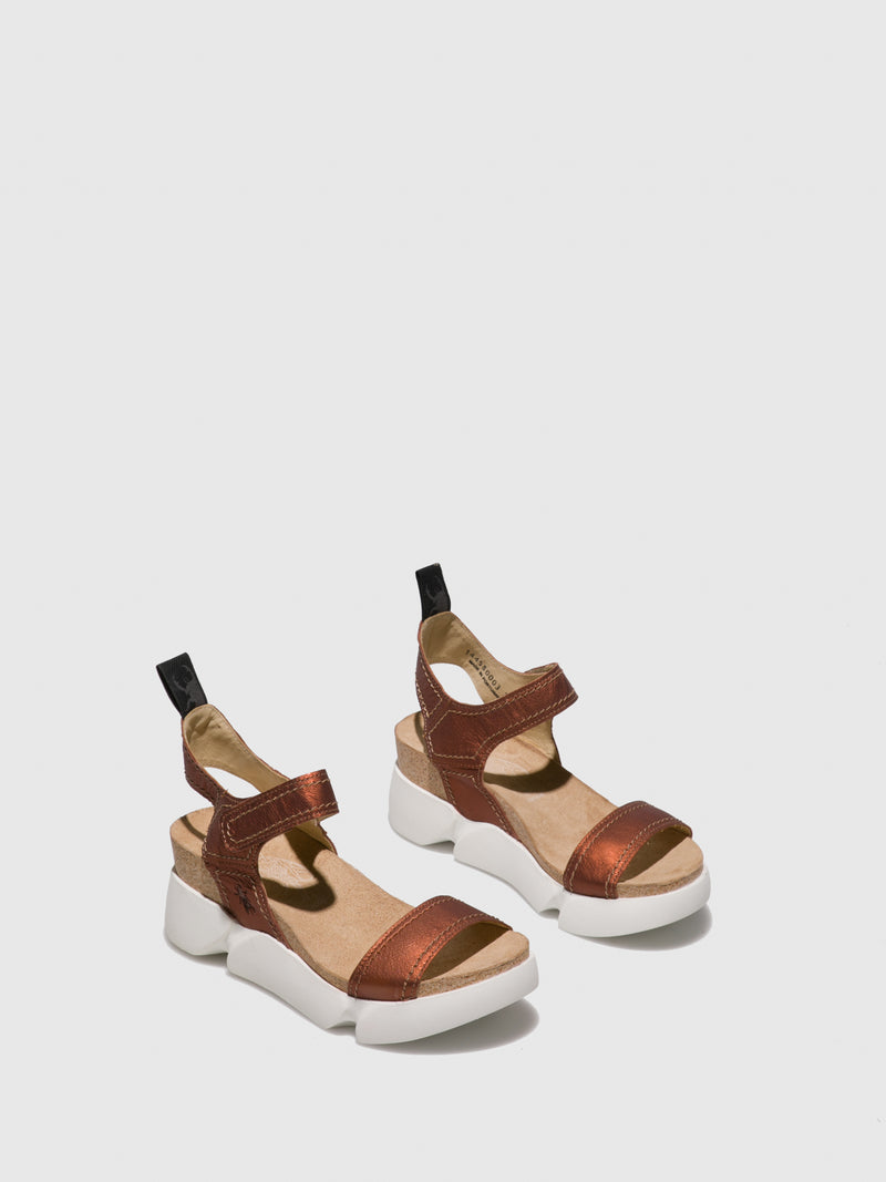 Fly London RosyBrown Velcro Sandals