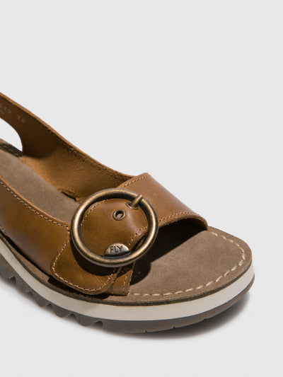 Fly London Camel Sling-Back Sandals