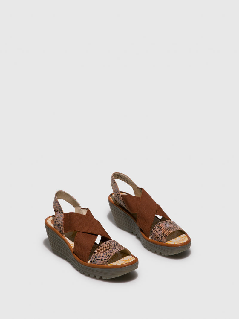 Fly London SandyBrown Crossover Sandals