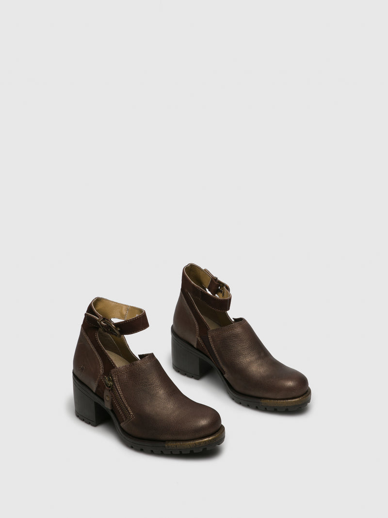 Fly London Brown Leather Ankle Strap Shoes